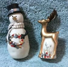 Firz And Floyd Wintry Woods Snowman Salt And Pepper New In Box