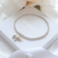 dainty beaded stacking jewellery Sterling silver elephant charm bracelet,