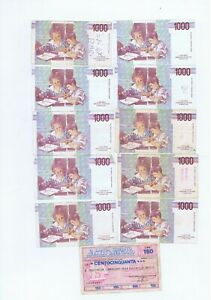 11 bank notes from Italy  : 1000 Lire 1990 + Brescia L150 1976