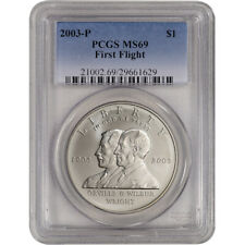 2003-P US First Flight Commemorative BU Silver Dollar - PCGS MS69