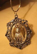 Lovely Swirled Rim Silvertone Hearts Textured Bunny Rabbit Pendant Necklace