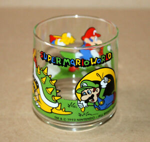 1993 Nintendo Super Mario World Yoshi Luigi Bowser Rare Vintage Glass Motive 4