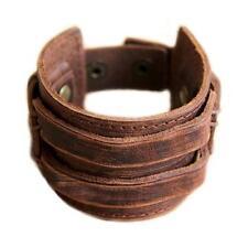 New Charm Punk Genuine Leather Men Cuff Wrap Bracelet Wristband Bangle Brown WT