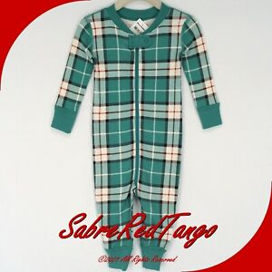 NWT HANNA ANDERSSON ORGANIC BABY SLEEPER ZIPPER FAMILY HARVEST PLAID 90 3T 3