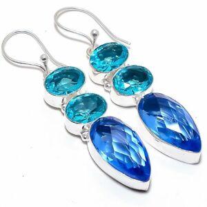 "Blue Topaz Gemstone Handmade Silver Jewelry Earring 2.4"" MQR-2396"