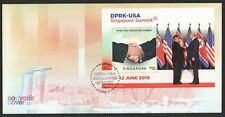 SINGAPORE 2018 DPRK - USA TRUMP KIM SINGAPORE SUMMIT STAMP SHEET FIRST DAY COVER