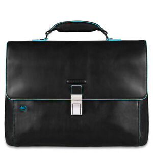 Man briefcase Piquadro Blue Square CA3111B2 black leather business laptop bag