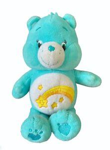 "Care Bear WISH Plush 9"" Teal Aqua Blue Shooting Star 2014 Stuffed Animal Toy"