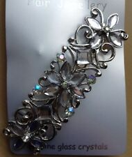 A Silver And Crystal Metal Barrette Hair Clip