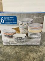 New Signature Housewares 6 Pc Stoneware Storage Bowls With Lids (Microwavable)
