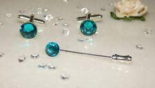 S/P 10mm Dark Turquoise/Teal Cufflinks & 36mm Cravat/Tie/Scarf/Corsage Pin