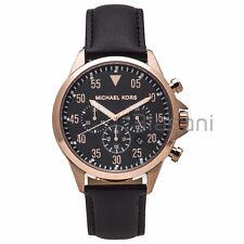 Michael Kors Original MK8535 Men's Gage Black Leather Strap Chrono Watch 43mm