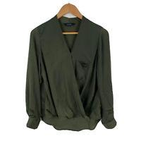 Decjuba Womens Top Size 8 Green Long Sleeve V-Neck