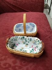 Longaberger 1999 Lavender and 2000 Parsley Basket with Protector and Liner