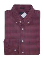 J.Crew Factory - Men's M - Slim Fit - Red/Navy Micro-Gingham Plaid Washed Shirt