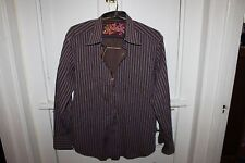 Robert Graham shirt (L) Brown with Purple and Blue stripes