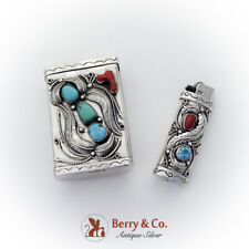 Navajo Silver Cigarette Case Lighter Set Turquoise Coral Applied Decorations
