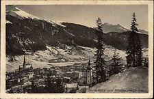 Davos Platz Schweiz Graubünden AK 1912 gelaufen nach Bonn Schatzalpwege Panorama