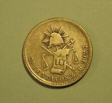 Mexico 25 Centavos 1870 Zs H Silver Wold Coin Eagle Scales Zacatecas Mexicana