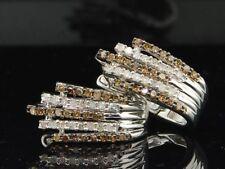 Ladies 925 Sterling Silver White & Champagne Diamond Hoop Earrings Huggie 1/2 Ct