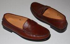 Tod's 6.5 Tan  Brown Leather Driving Style Logo Penny Loafers Mocs Italy  $395
