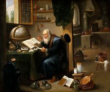 """perfect 48x36 handpainted oil painting """" An alchemist in his laboratory""""@NO3409"""