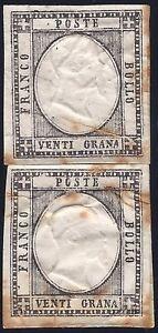 PROVINCE NAPOLETANE 1861 - 20 Grana PROVA IN NERO x 2 RARISSIMI !!!!