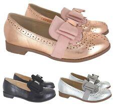 Niños Niñas Moño Formales Mocasines Bombas Escuela Fiesta plana para niños zapatos talla 10-2