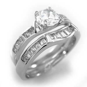 18K White Gold Womens Wedding Band Engagement CZ Set Ladies Silver Wedding Ring