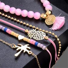 5PCS Women Animal Horse Tree Tassels Round Bead Bangle Chain Bracelet Jewelry