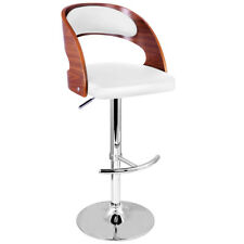 Wooden Bar Stool W/ PU Leather Seat - White Furniture Home Office