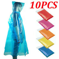 10x Disposable Adult Emergency Waterproof Rain Coat Poncho Hiking Camping Hood