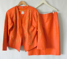 Vtg Leather Skirt Suit Soft Leather Orange Beading Trim Size XL
