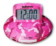 SA-SBP100C Sonic Boom Travel alarm clock with bed shaker,  Pink Camo