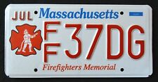 """MASSACHUSETTS """" FIREFIGHTER - FIRE FIGHTER """"  MA Specialty License Plate"""