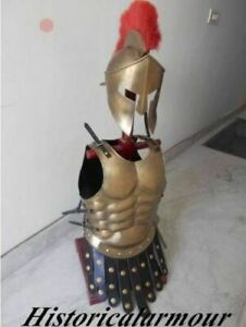 ARMOR HELMET 300 LEONIDAS SPARTAN W/ RED PLUME AND BRASS ANTIQUE MUSCLE JACKET