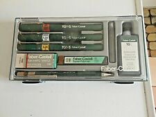 VINTAGE FABER CASTELL DRAWING SET- 4 PENS/PENCIL + VINYL RUBBER + LEADS + INK