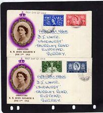 1953 QEII Coronation FDC; GODALMING / SURREY ON TWO COVERS