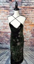 Worth Sleeveless Green Floral VELVET Full Length SILK RAYON Evening Gown Dress 8