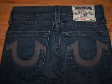 Mens True Religion Medium Wash Distressed Straight Leg Blue Jeans Size 28 31X32