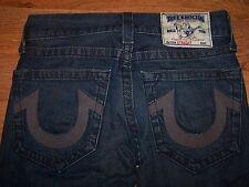 True Religion Medium Wash Distressed Straight Leg Blue Jeans Mens Size 28 31X32