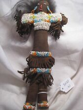 NATIVE AMERICAN INDIAN  BEADED LEATHER DOLL, INDIAN DOLL,  W/REAL HAIR, CO-00148