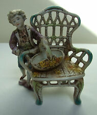 CONTINENTAL GERMAN? PORCELAIN BOY WITH BASKET & CHAIR FIGURE FIGURINE 5""