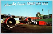 """""""Howdy From Dallas Love Field, Texas"""" Airport Terminal Chrome Postcard Unused"""
