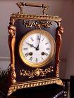 Antique Victorian French Bracket Clock,1890s,Ebony,Bronze,Egyptian Revival,Chime