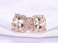 3.50Ct Cushion Cut Morganite Diamond Halo Stud Earrings 14K Rose Gold Finish