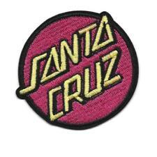"SANTA CRUZ IRON ON PATCH 3"" Skater Skateboard Red Round Embroidered Applique"