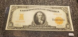 1907 $10 Gold Certificate !! Horse Blanket !! Higher Grade !!