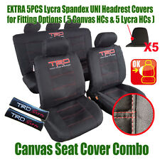New Black TRD Canvas Airbag Seat Covers & Carbon Shoulder Pads For Toyota Tacoma