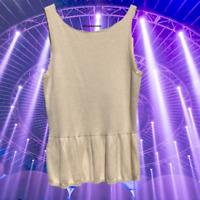 Ann Taylor LOFT Womens Sweater Tank Top S Tan Sleeveless Peplum Hem Career